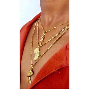 Ankh , Nefertiti ,africa necklace 3 piece set